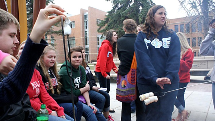 The Greek Week bonfire was held in the Campus Mall on Tuesday, April 30.