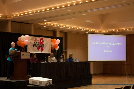 """Sandy Schob speaks about her experience with chemotherapy and clinical trials with leukemia at the """"Bone Marrow Donation 101"""" panel last Thursday. Other speakers pictured: Dr. Denise Snow, Vinod Lall, Rita Lall and Rachel Smart. Photo by Kayla Van Eps"""