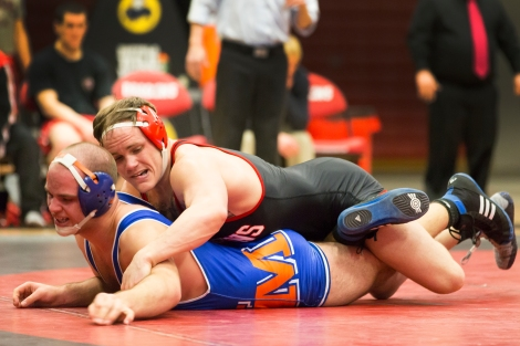 Senior Dragon wrestler, Matt Lewellen (top), defeated University of Mary's Tom Devito by a 7-1 decision on Saturday. Lewellen has now imporved to 24-14 on the season and leads the team in wins with 24.